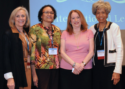 (L-R) ILA President Cynthia Cherrey, 2016 Award Recipients Gill Robinson Hickman and Barbara Kellerman, and ILA Board Chair Katherine Tyler Scott