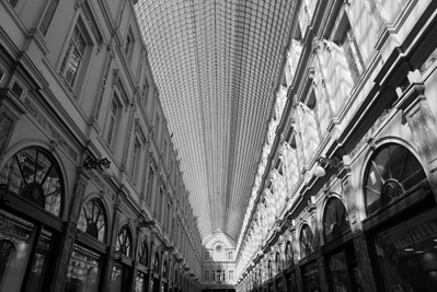 Inside the shopping gallery in Brussels, Belgium